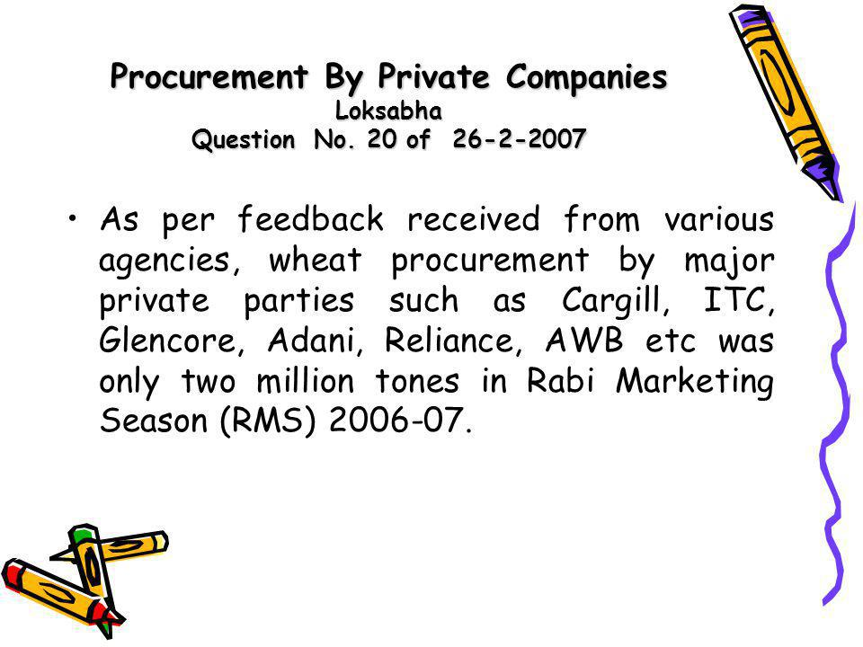Procurement By Private Companies Loksabha Question No. 20 of 26-2-2007 As per feedback received from various agencies, wheat procurement by major priv
