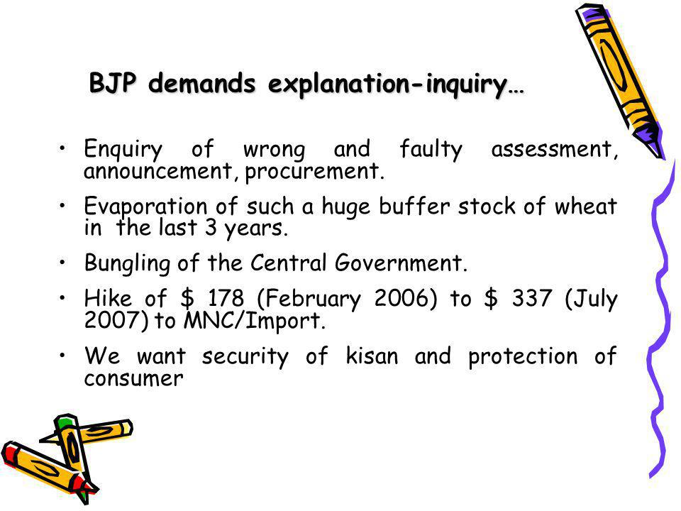 BJP demands explanation-inquiry… Enquiry of wrong and faulty assessment, announcement, procurement.