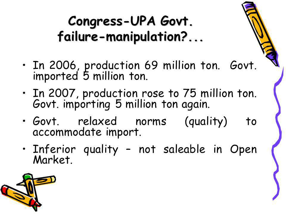 Congress-UPA Govt. failure-manipulation ... In 2006, production 69 million ton.