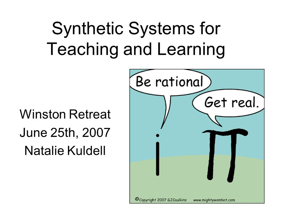 Synthetic Systems for Teaching and Learning Winston Retreat June 25th, 2007 Natalie Kuldell