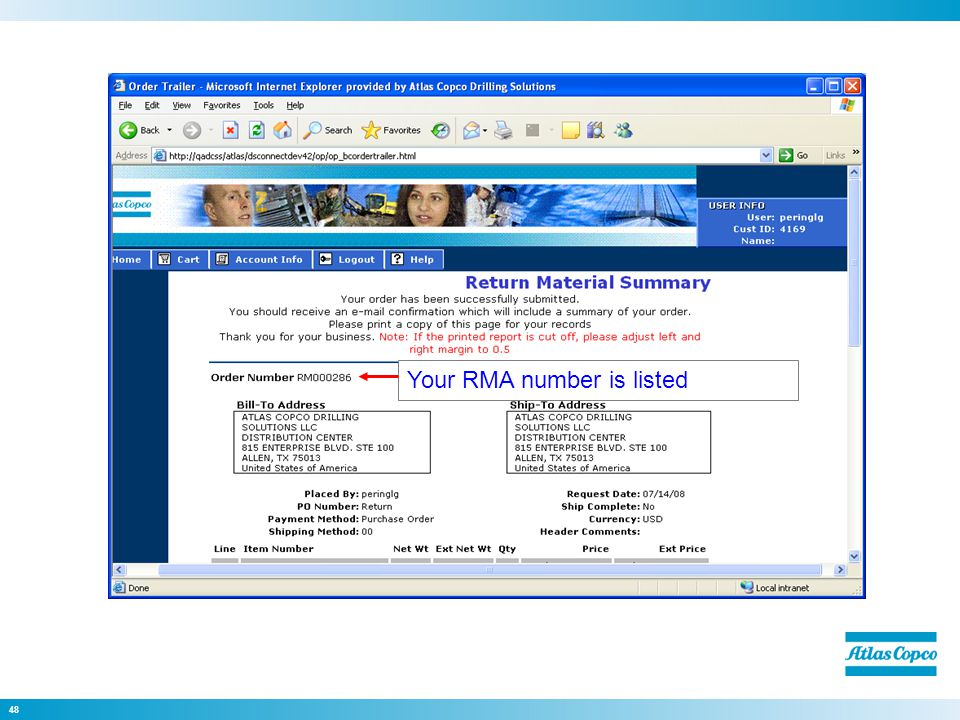 48 Your RMA number is listed