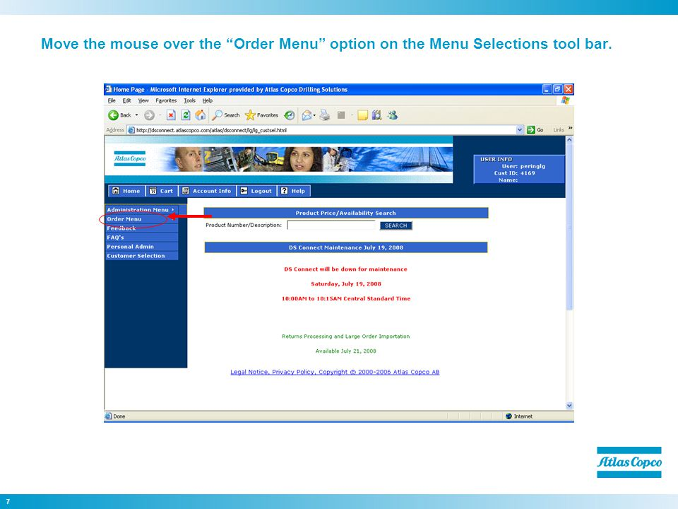 7 Move the mouse over the Order Menu option on the Menu Selections tool bar.