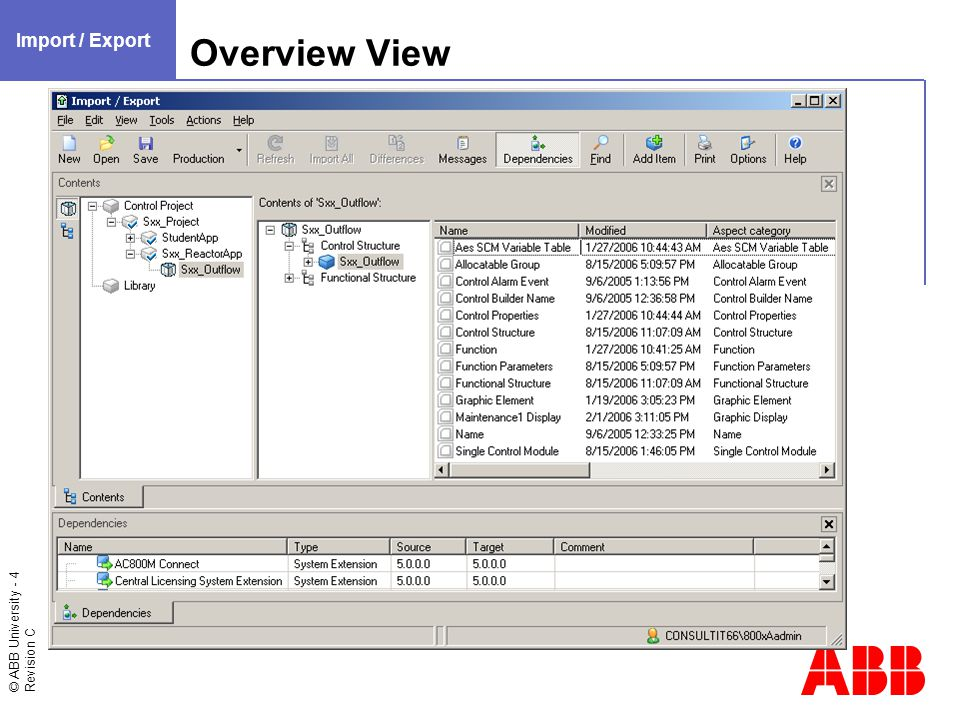 © ABB University - 15 Revision C Importing Data / Remove and Import All Import / Export