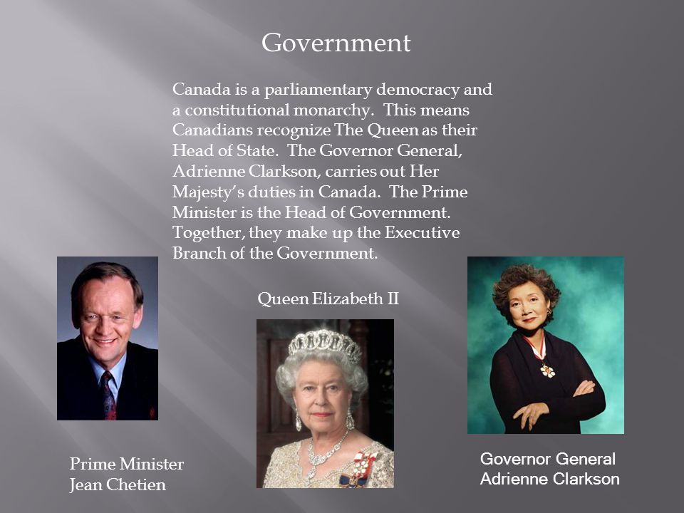 Queen Elizabeth II Government Canada is a parliamentary democracy and a constitutional monarchy.