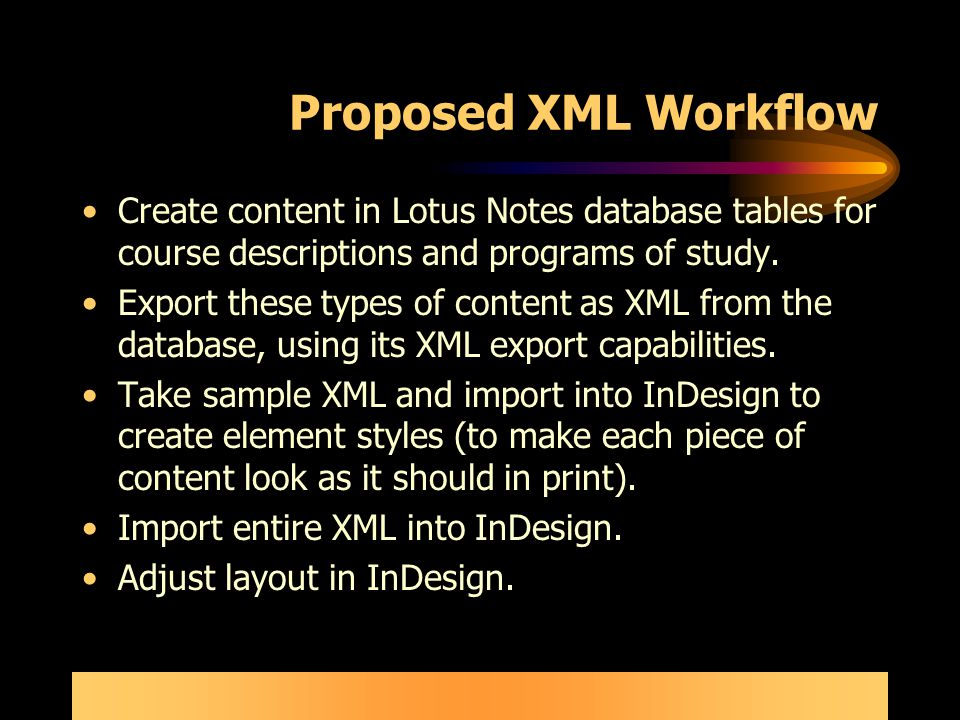 Proposed XML Workflow Create content in Lotus Notes database tables for course descriptions and programs of study.