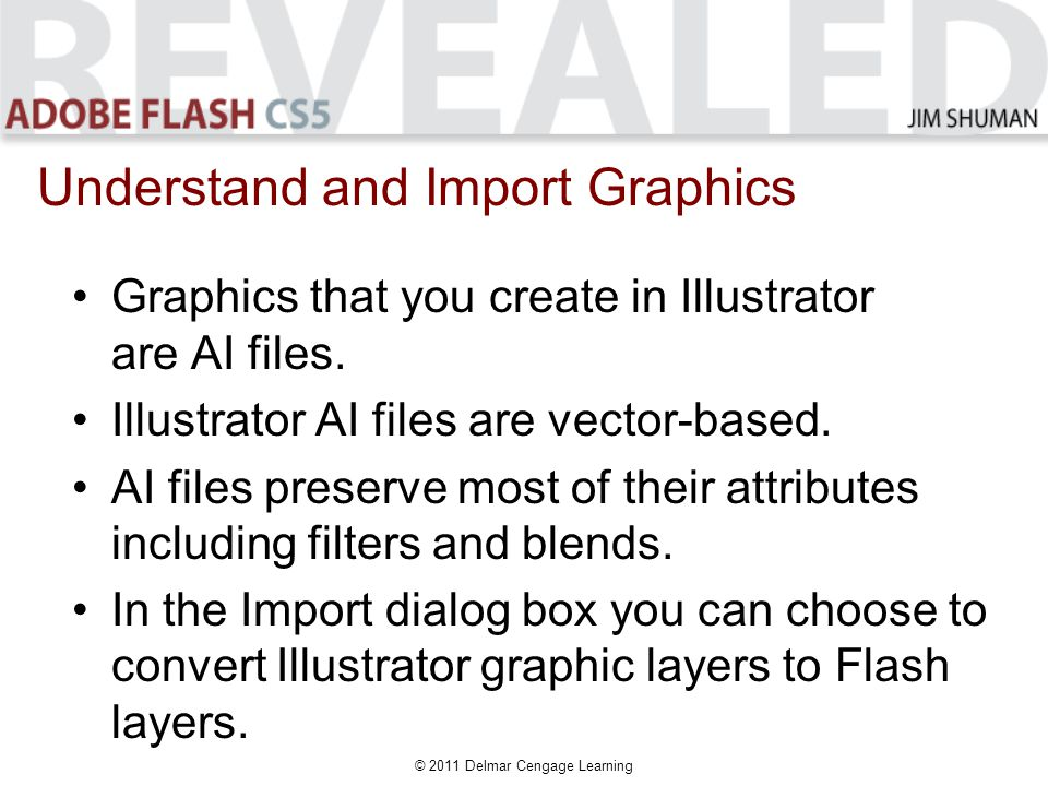 © 2011 Delmar Cengage Learning Graphics that you create in Illustrator are AI files.