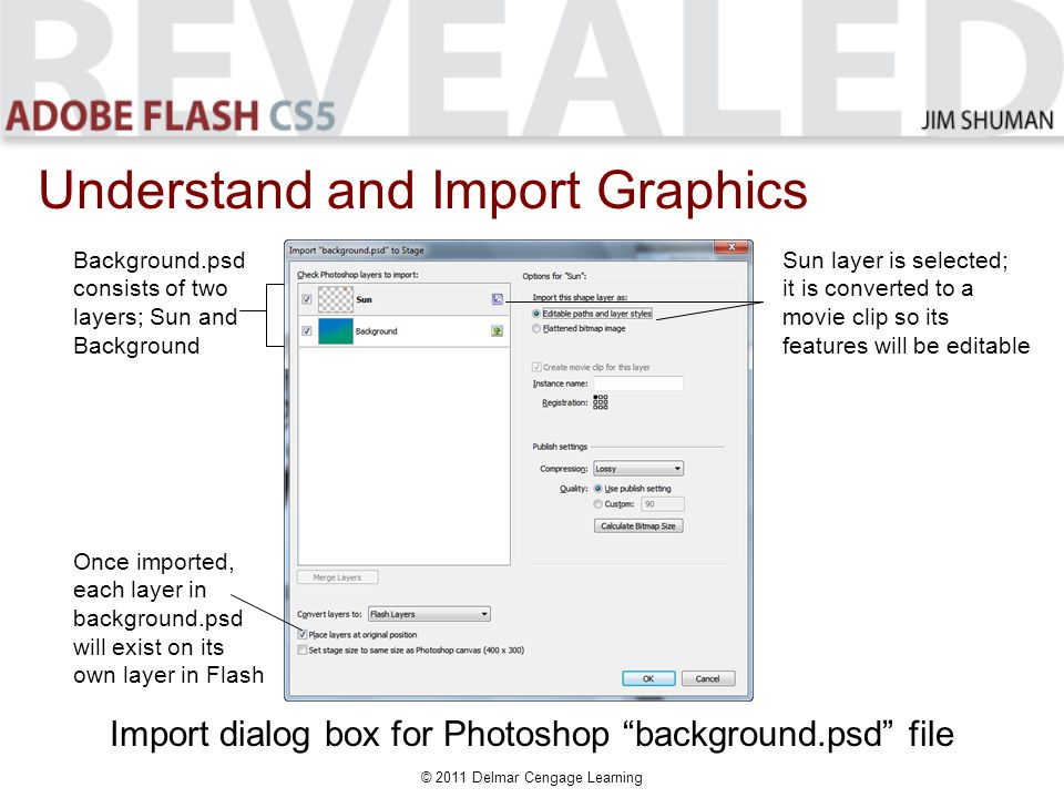© 2011 Delmar Cengage Learning Understand and Import Graphics Import dialog box for Photoshop background.psd file Background.psd consists of two layers; Sun and Background Sun layer is selected; it is converted to a movie clip so its features will be editable Once imported, each layer in background.psd will exist on its own layer in Flash