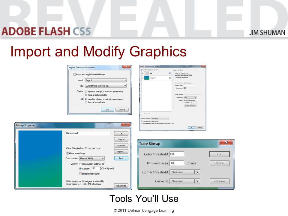 © 2011 Delmar Cengage Learning Import and Modify Graphics Tools You'll Use