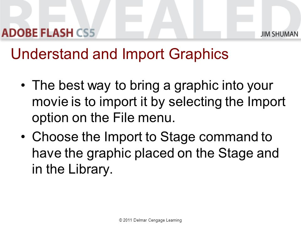 © 2011 Delmar Cengage Learning The best way to bring a graphic into your movie is to import it by selecting the Import option on the File menu.