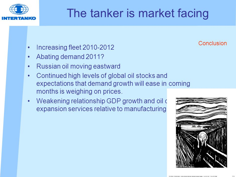 The tanker is market facing Increasing fleet 2010-2012 Abating demand 2011? Russian oil moving eastward Continued high levels of global oil stocks and