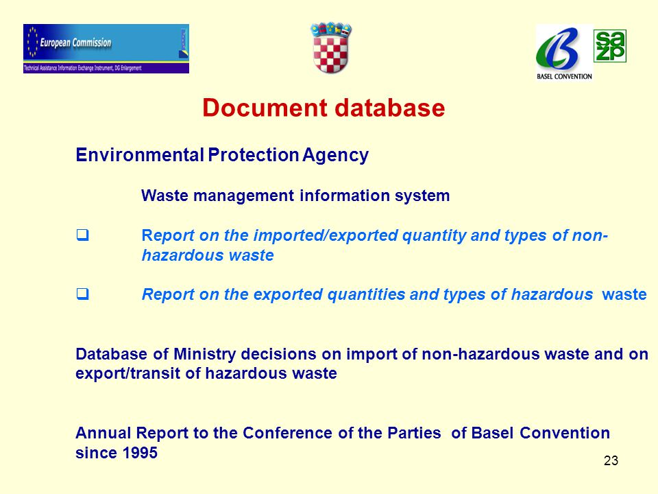 23 Document database Environmental Protection Agency Waste management information system   Report on the imported/exported quantity and types of non- hazardous waste   Report on the exported quantities and types of hazardous waste Database of Ministry decisions on import of non-hazardous waste and on export/transit of hazardous waste Annual Report to the Conference of the Parties of Basel Convention since 1995
