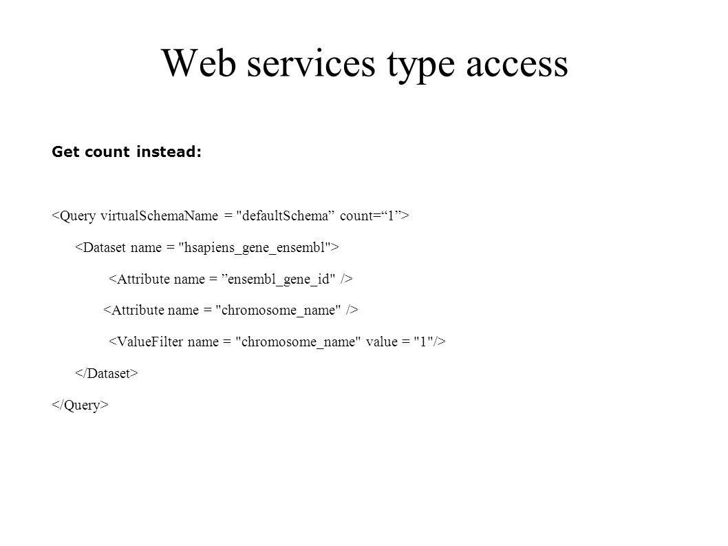 Web services type access Get count instead: