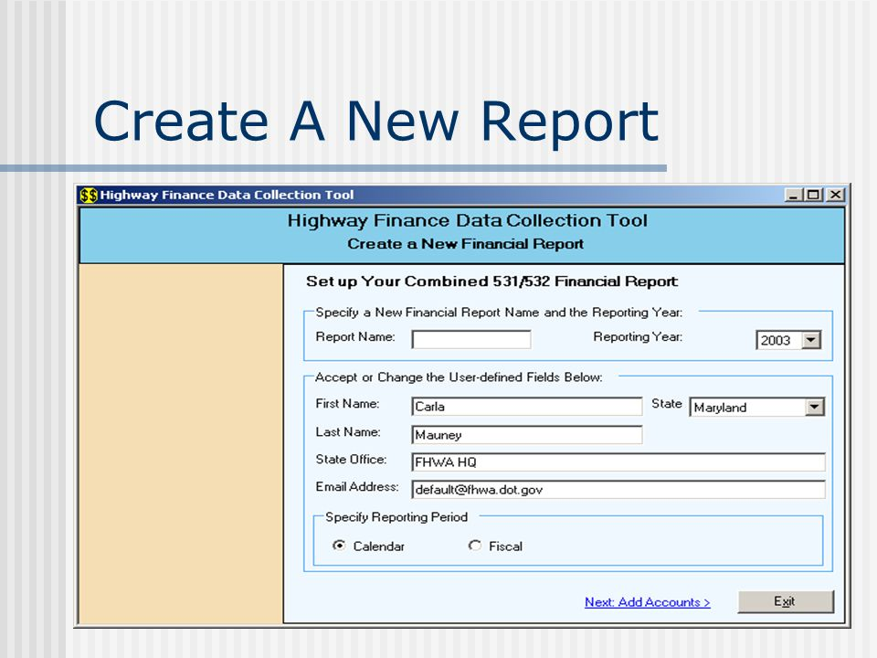 Create A New Report