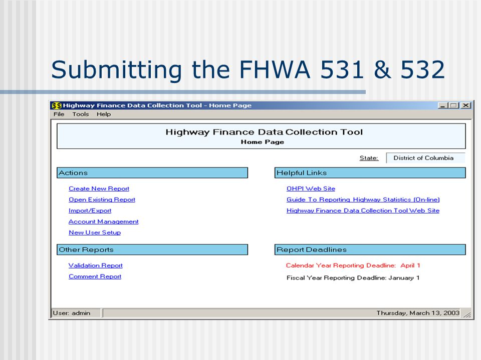 Submitting the FHWA 531 & 532