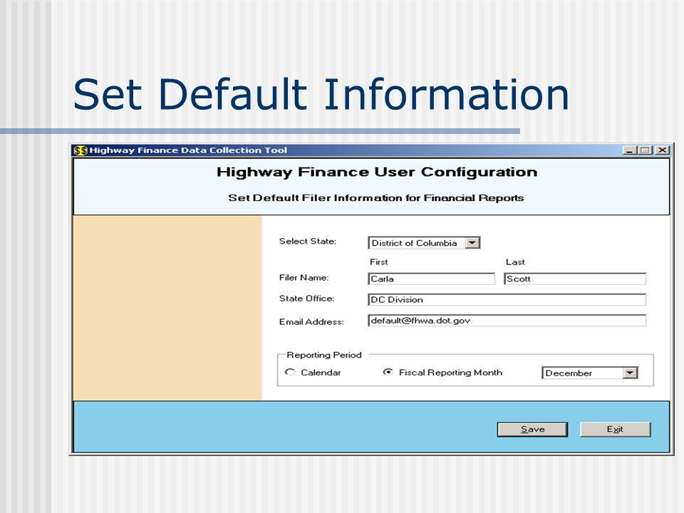 Set Default Information