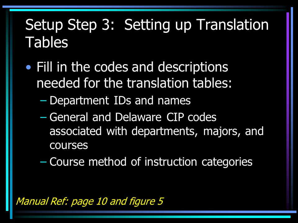 Setup Step 3: Setting up Translation Tables Fill in the codes and descriptions needed for the translation tables: –Department IDs and names –General and Delaware CIP codes associated with departments, majors, and courses –Course method of instruction categories Manual Ref: page 10 and figure 5