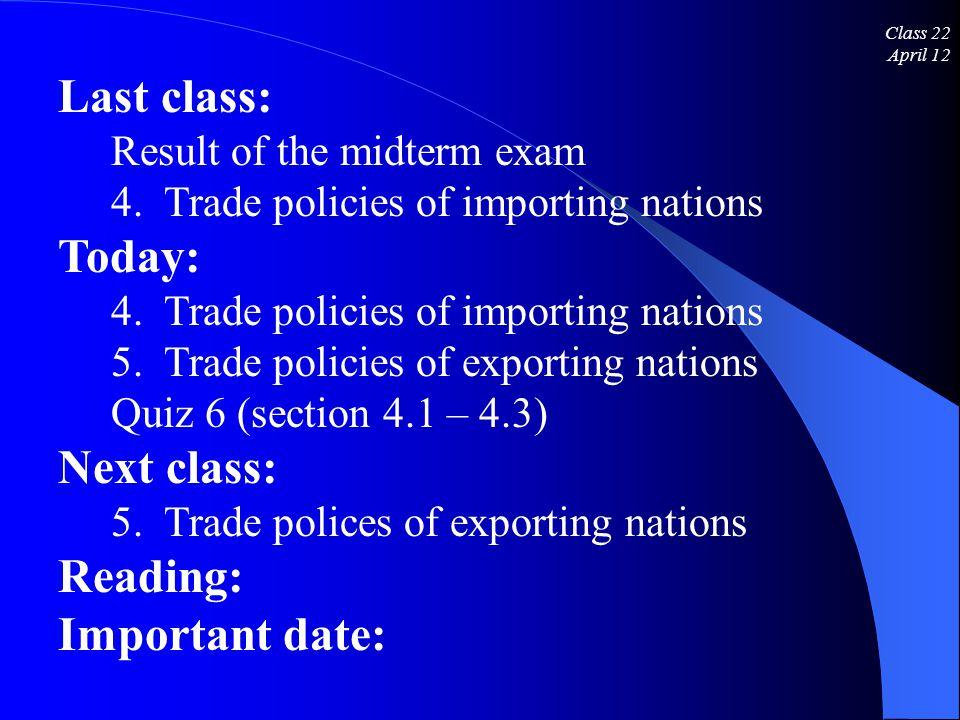 Class 22 April 12 Last class: Result of the midterm exam 4.
