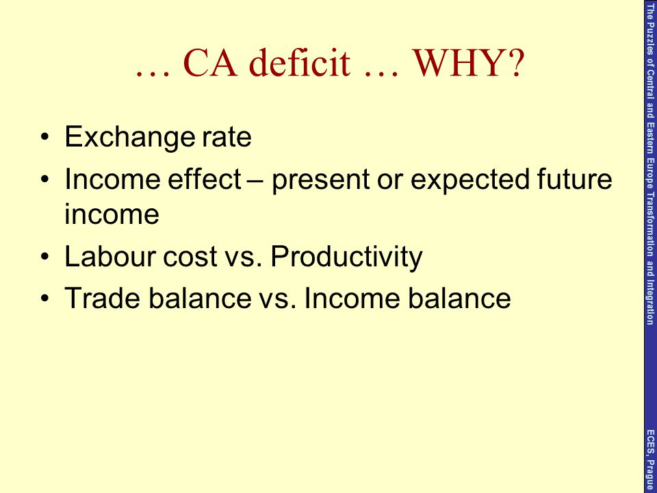 … CA deficit … WHY? Exchange rate Income effect – present or expected future income Labour cost vs. Productivity Trade balance vs. Income balance The
