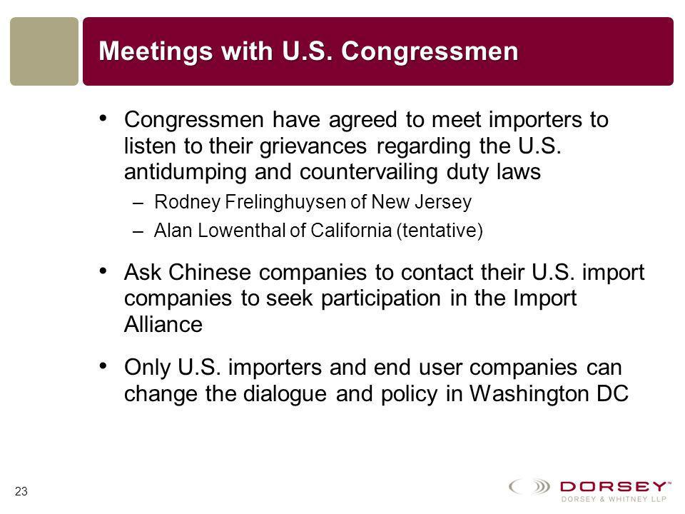 Meetings with U.S.