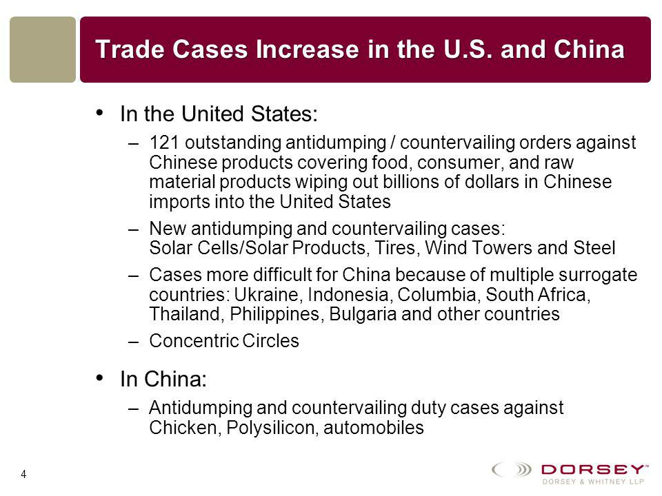 Dueling WTO Cases China WTO case—Countervailing duty cases –Treat state-owned companies as governmental entities –Fail to look at market benchmark in China –Not much will change for China without a change in the non-market economy status U.S.