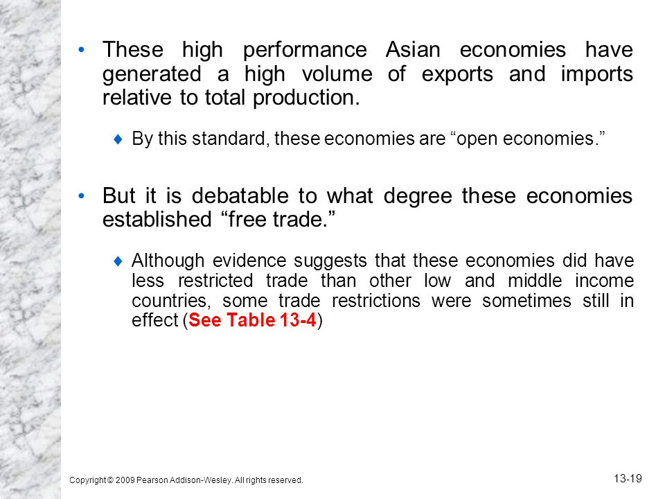 Copyright © 2009 Pearson Addison-Wesley. All rights reserved. 13-19 These high performance Asian economies have generated a high volume of exports and