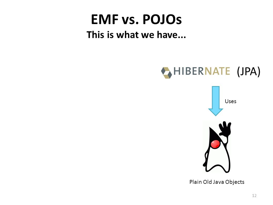 EMF vs. POJOs This is what we have... (JPA) Uses Plain Old Java Objects 12