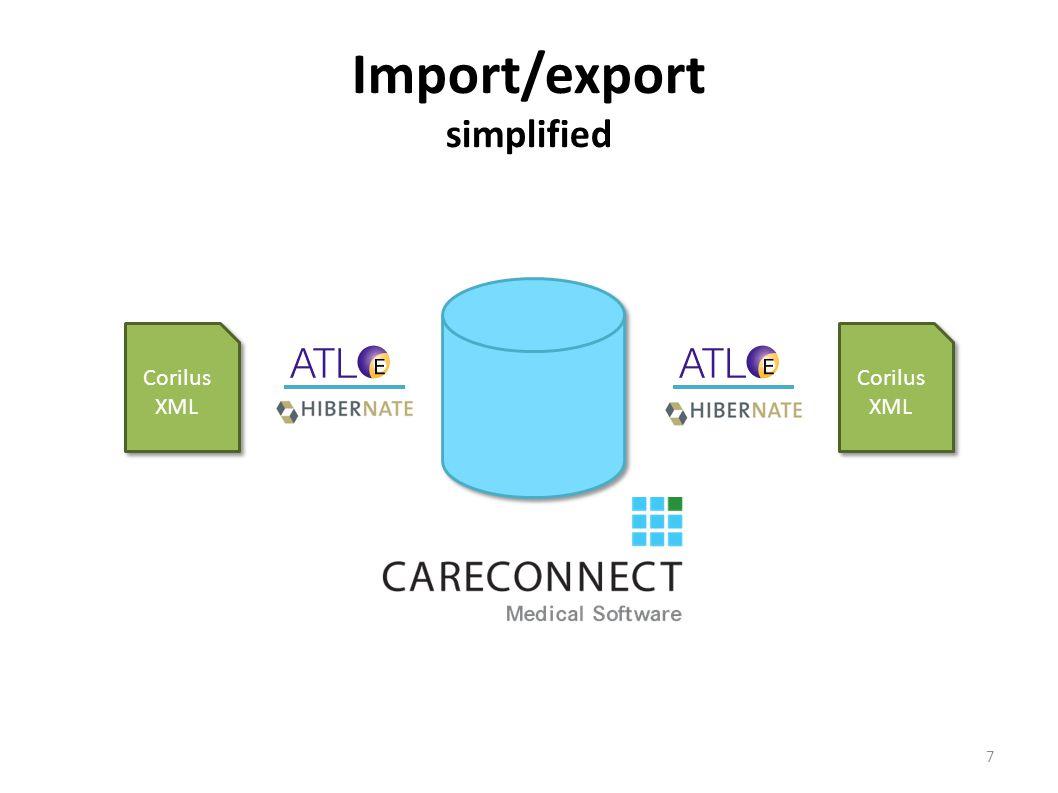 Import/export simplified Corilus XML 7
