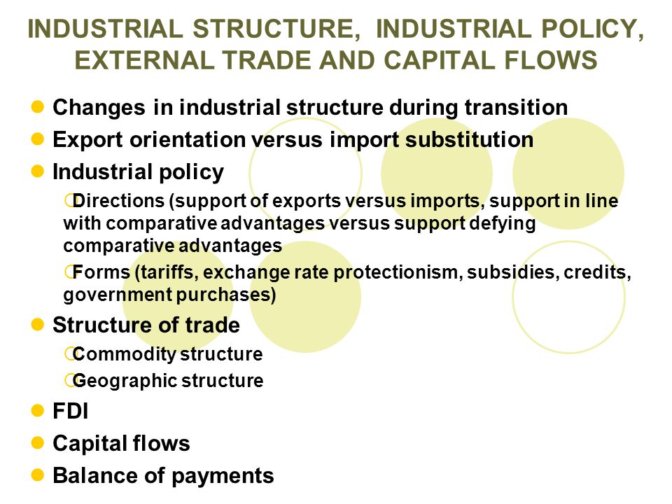 Changes in industrial structure during transition Export orientation versus import substitution Industrial policy  Directions (support of exports ver