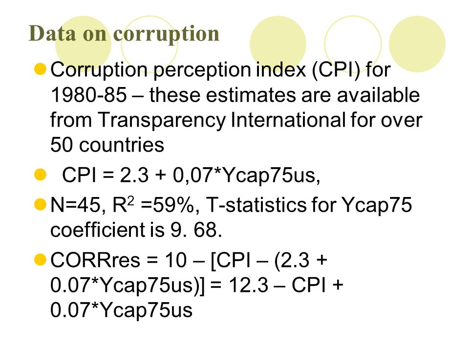 Data on corruption Corruption perception index (CPI) for 1980-85 – these estimates are available from Transparency International for over 50 countries