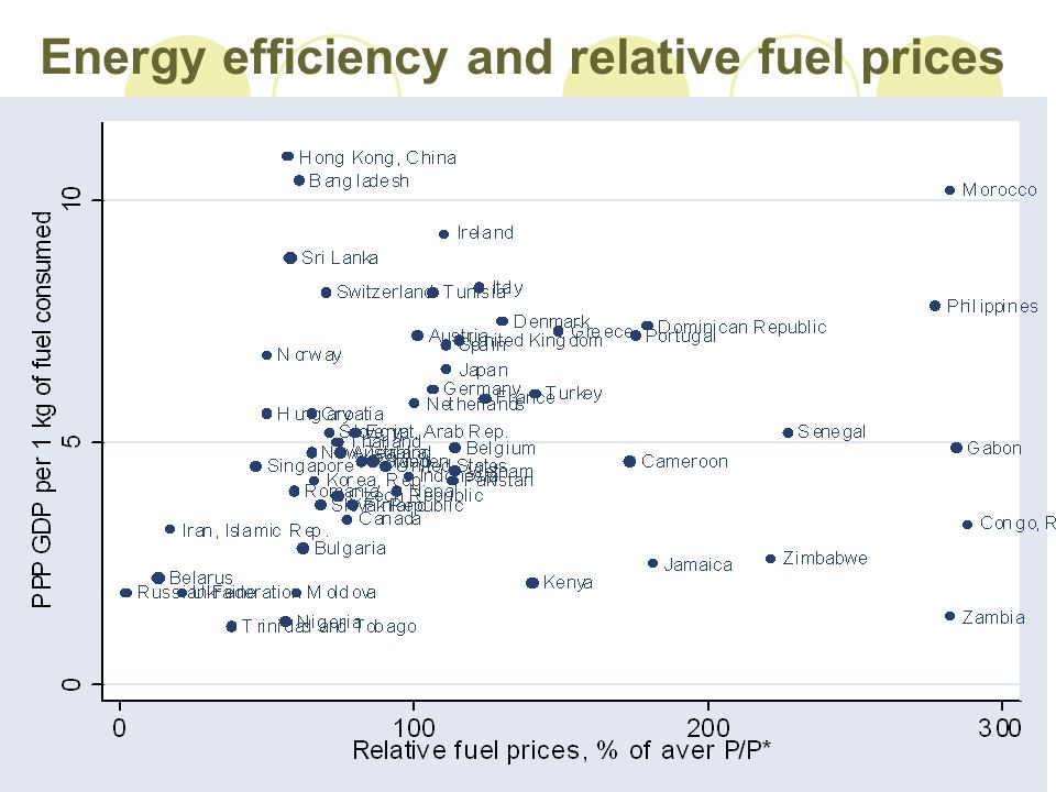 Energy efficiency and relative fuel prices