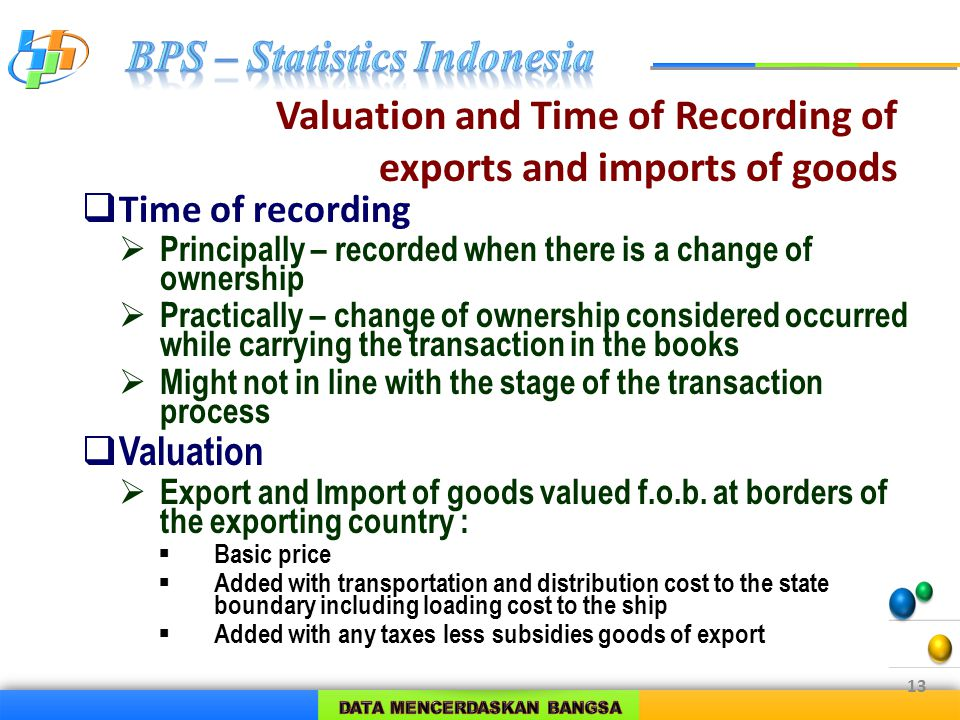 Valuation and Time of Recording of exports and imports of goods  Time of recording  Principally – recorded when there is a change of ownership  Practically – change of ownership considered occurred while carrying the transaction in the books  Might not in line with the stage of the transaction process  Valuation  Export and Import of goods valued f.o.b.