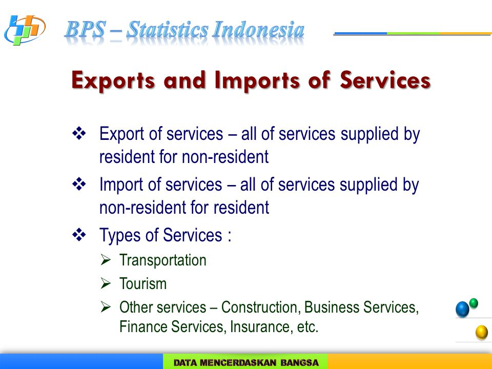 Exports and Imports of Services  Export of services – all of services supplied by resident for non-resident  Import of services – all of services supplied by non-resident for resident  Types of Services :  Transportation  Tourism  Other services – Construction, Business Services, Finance Services, Insurance, etc.