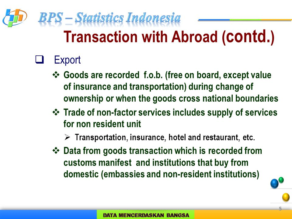 Transaction with Abroad ( contd. )  Export  Goods are recorded f.o.b.