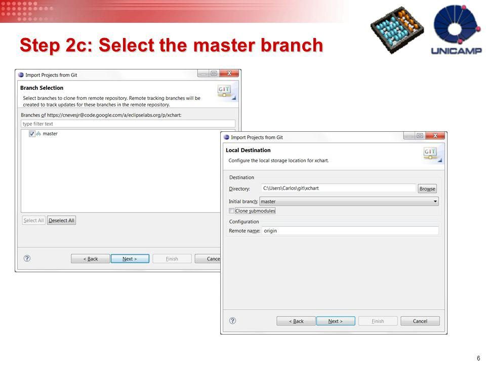 6 Step 2c: Select the master branch