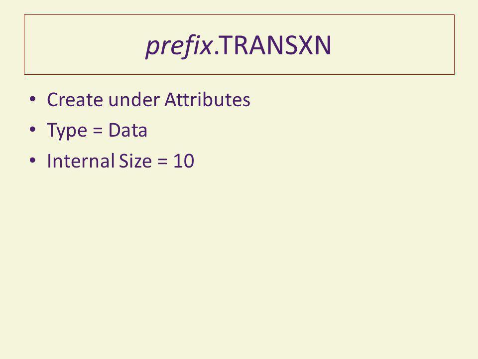 prefix.TRANSXN Create under Attributes Type = Data Internal Size = 10
