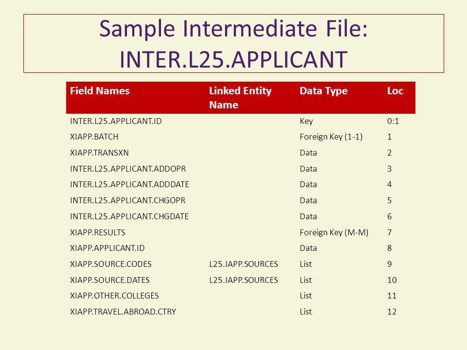 Sample Intermediate File: INTER.L25.APPLICANT Field NamesLinked Entity Name Data TypeLoc INTER.L25.APPLICANT.IDKey0:1 XIAPP.BATCHForeign Key (1-1)1 XI