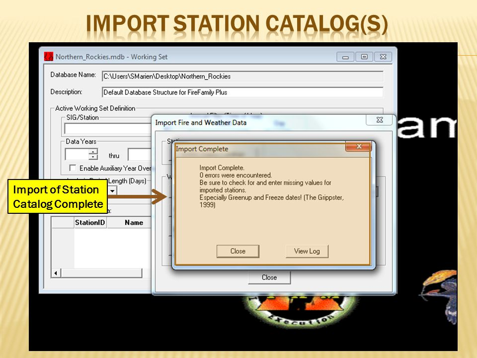 Import of Station Catalog Complete