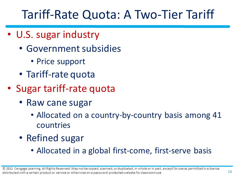 Tariff-Rate Quota: A Two-Tier Tariff U.S.