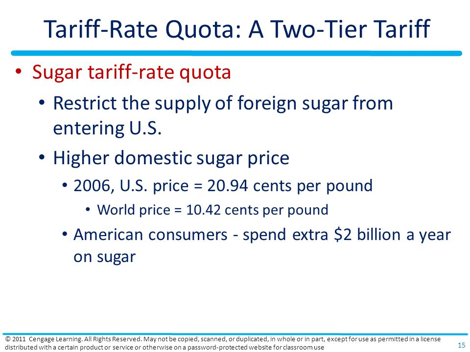 Tariff-Rate Quota: A Two-Tier Tariff Sugar tariff-rate quota Restrict the supply of foreign sugar from entering U.S.