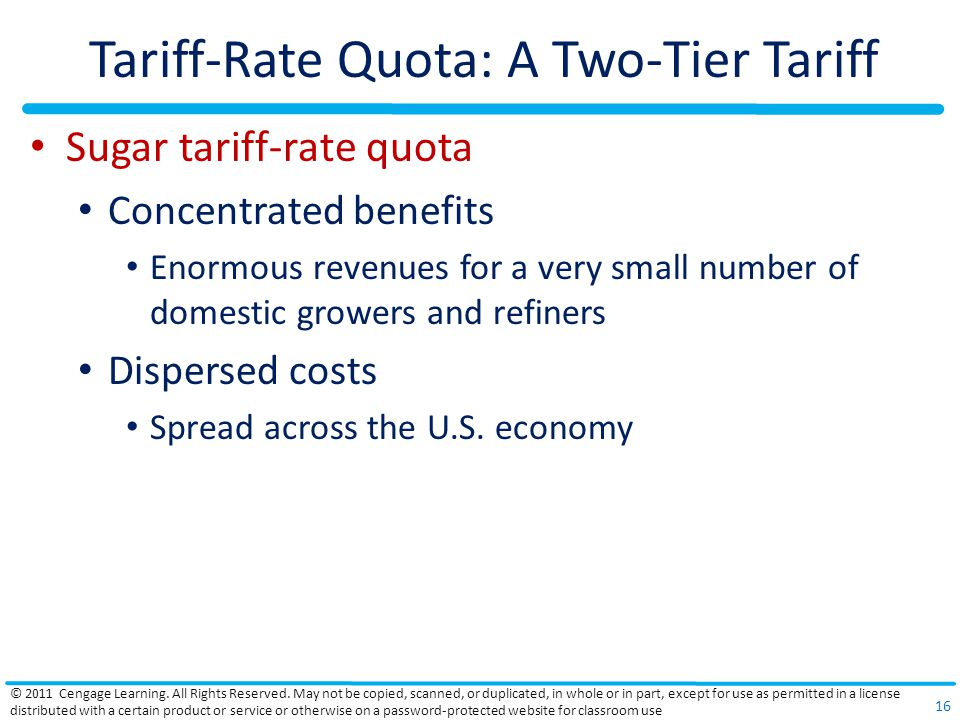 Tariff-Rate Quota: A Two-Tier Tariff Sugar tariff-rate quota Concentrated benefits Enormous revenues for a very small number of domestic growers and refiners Dispersed costs Spread across the U.S.