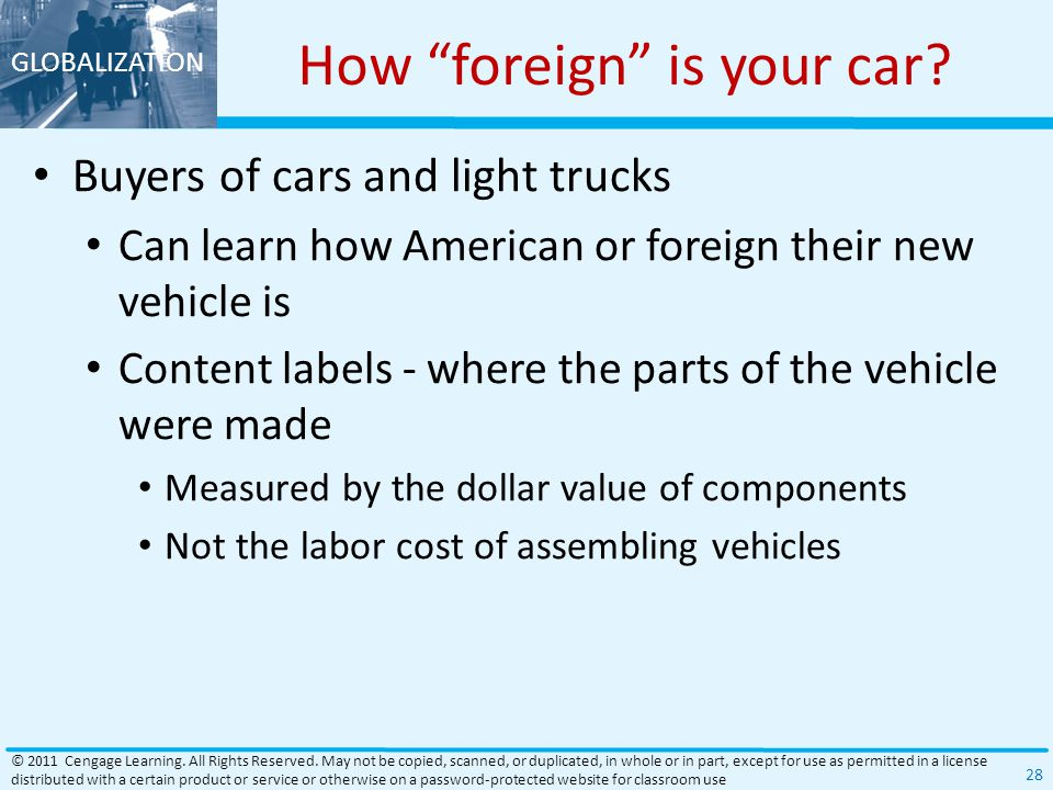 GLOBALIZATION How foreign is your car.