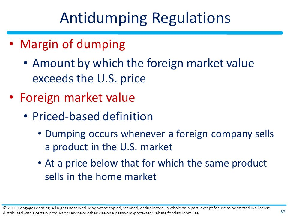 Antidumping Regulations Margin of dumping Amount by which the foreign market value exceeds the U.S.