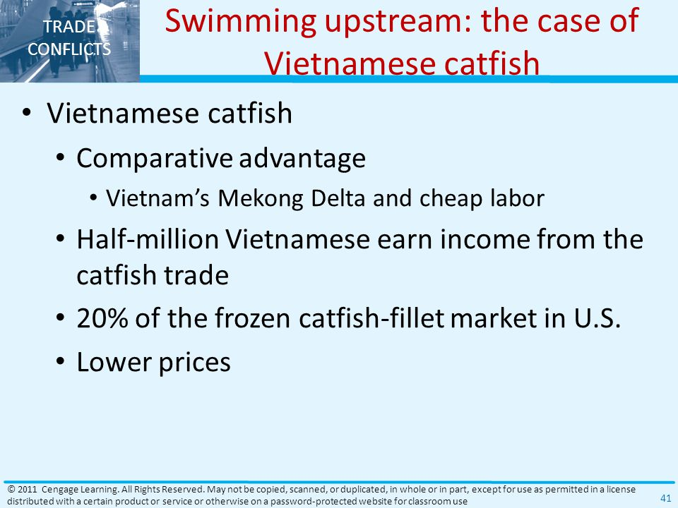 TRADE CONFLICTS Swimming upstream: the case of Vietnamese catfish Vietnamese catfish Comparative advantage Vietnam's Mekong Delta and cheap labor Half-million Vietnamese earn income from the catfish trade 20% of the frozen catfish-fillet market in U.S.