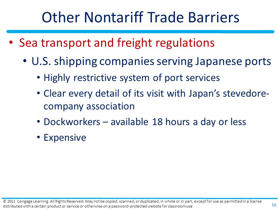 Other Nontariff Trade Barriers Sea transport and freight regulations U.S.