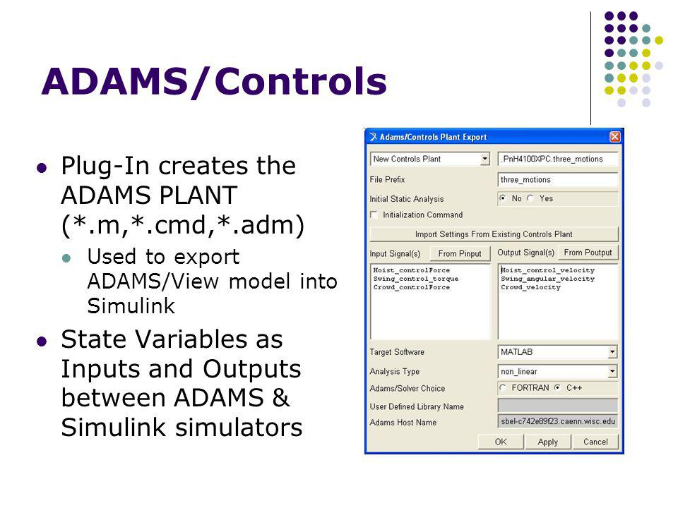 ADAMS/Controls Plug-In creates the ADAMS PLANT (*.m,*.cmd,*.adm) Used to export ADAMS/View model into Simulink State Variables as Inputs and Outputs between ADAMS & Simulink simulators