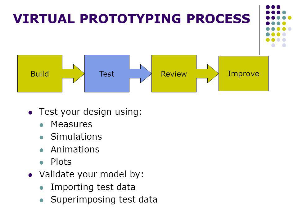 BuildTestReview Improve VIRTUAL PROTOTYPING PROCESS Test your design using: Measures Simulations Animations Plots Validate your model by: Importing test data Superimposing test data