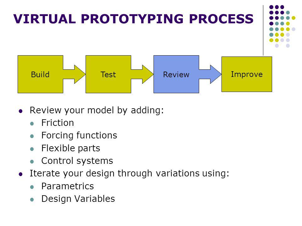 BuildTestReview Improve VIRTUAL PROTOTYPING PROCESS Improve your design using: DOEs Optimization Automate your design process using: Custom menus Macros Custom dialog boxes