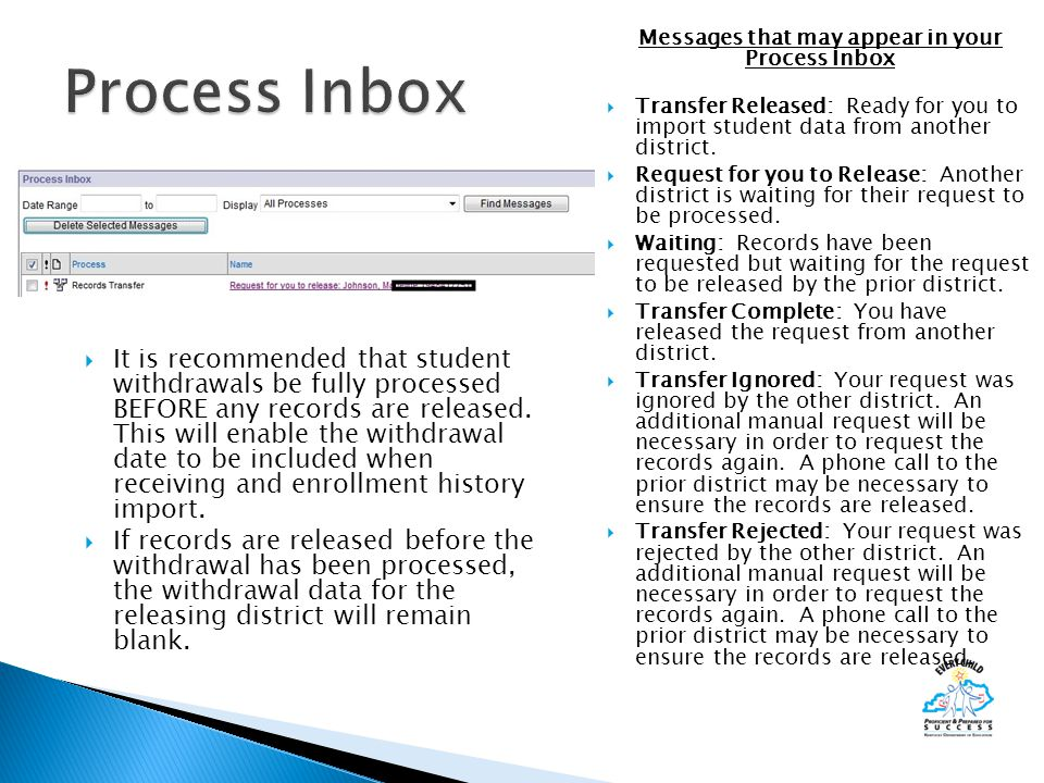 Messages that may appear in your Process Inbox  Transfer Released: Ready for you to import student data from another district.  Request for you to R
