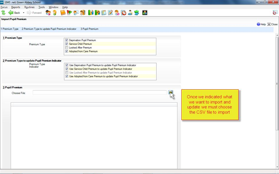 Once we indicated what we want to import and update we must choose the CSV file to import