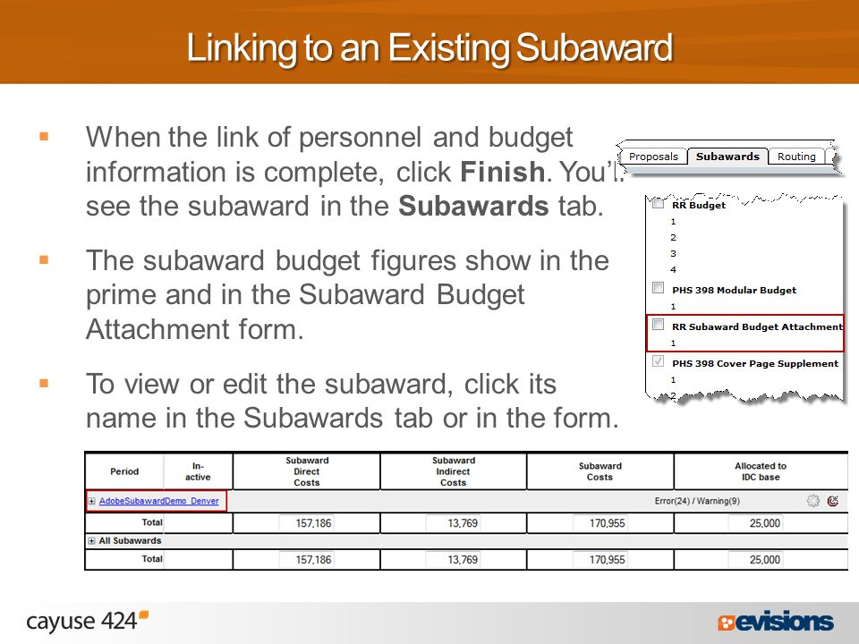  When the link of personnel and budget information is complete, click Finish.